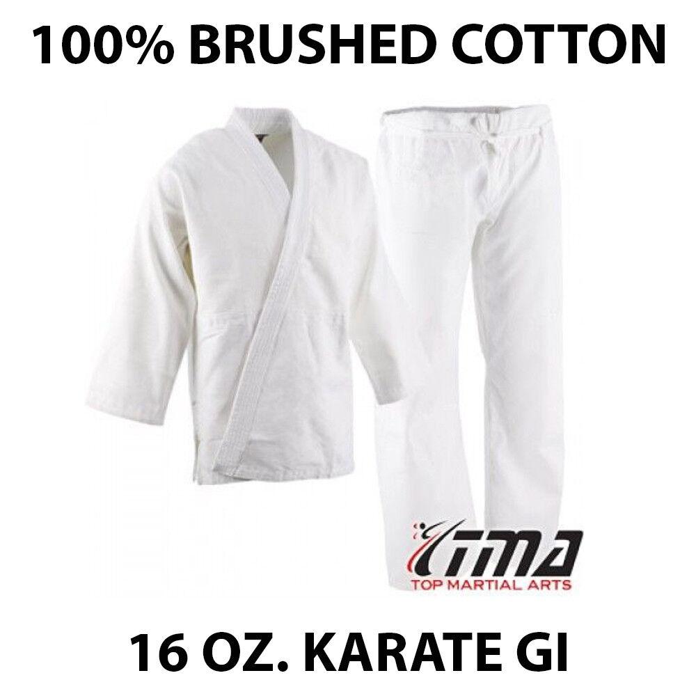 Size 5&6 WHITE 16 Oz. Gi Made of 100% Brushed Cotton Heavy Weight Karate Uniform