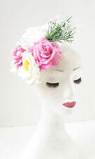 Rosa Weiß Elfenbein-rose Dahlia Blume Fascinator Haarspange Blumenmuster