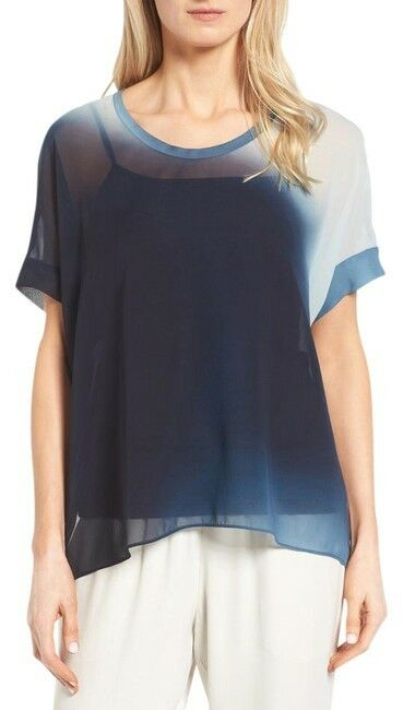 SZ L Eileen Fisher SERNO Watercolor Silk Sheer Box Top NWT