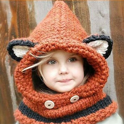 1PC Animal Fox Shape Shawl Hat Winter Knitting Wool Scarf Hat 2 Colors Unisex