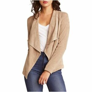 BB-Dakota-Wade-Faux-Suede-and-Knit-Jacket-Women-039-s-Size-L-Taupe
