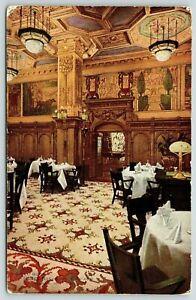 Chicago-Illinois-Hotel-Brevoort-Vintage-Interior-Grille-Room-1911-Postcard
