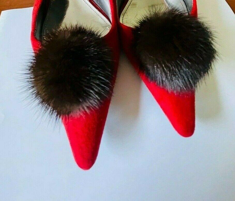 New Shoe Clips Dark Brawn Mink Fur Pompom 2.5