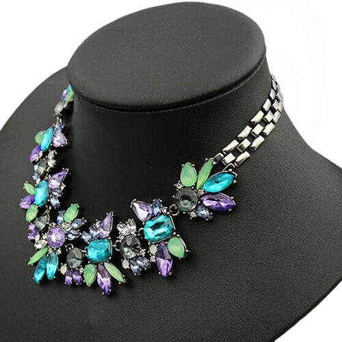 Women's Spring Jewelery Rhinestone Flower Cluster Bib Choker Pendant Necklace US
