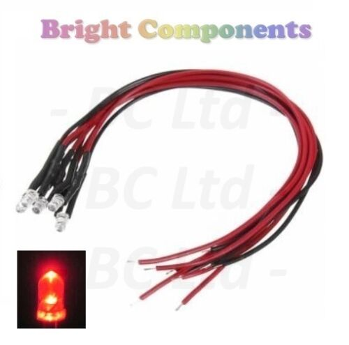 Flashing Pre-Wired Red LED 3mm Ultra Bright 1st CLASS POST 9V ~ 12V