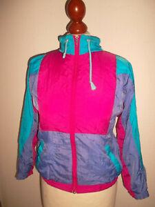 vintage-80s-Nylon-Jacke-jacket-shiny-80er-oldschool-Kinder-Sportjacke-Gr-140