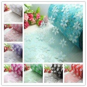 """5/yard 6"""" Crystal flower Organza Tulle Fabric Wedding Bridal Spool Trim"""