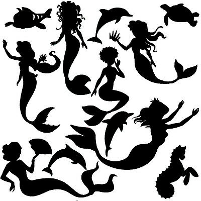Die Cut Out Silhouette Mix fairy mermaid unicorn butterfly dragon card shapes
