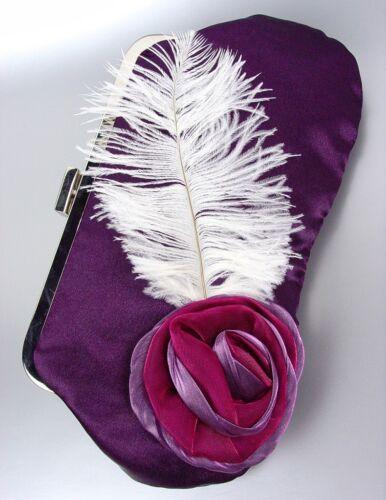 ARTISANAL Purple Satin Flower Bouquet Plume Feather Clutch Evening Purse Bag