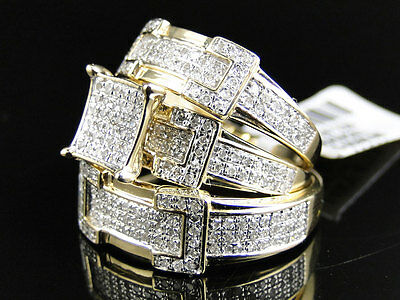 14K Yellow Gold Round Cut Diamond Engagement Bridal Wedding Ring Trio Set 1.24 C