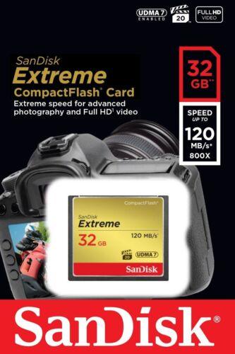 Tarjeta CF CompactFlash Sandisk 32gb Extreme 120mb//s para Canon EOS 300D 7D 400D 30D