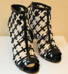 CHANEL-New-in-Box-Cruise-2009-09C-Black-White-Cage-Shoes-Booties-40