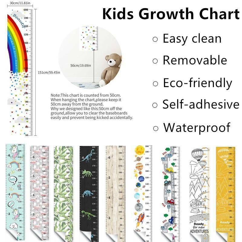 Anywhere for Infants Kids Children and Young Adults to Measure cm and inches Door Best Growth Chart Decal 0 to 7 feet DIY Peel and Stick Black /& White Backdrop Height Ruler on Wall