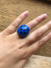 Kitsch Retro Plastic Domed Ring/Blue With Stars/Rock/Punk/Statement