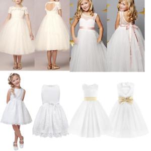 9246c98c3 Image is loading Flower-Girl-Lace-Dress-Kids-Communion-Baptism-Wedding-