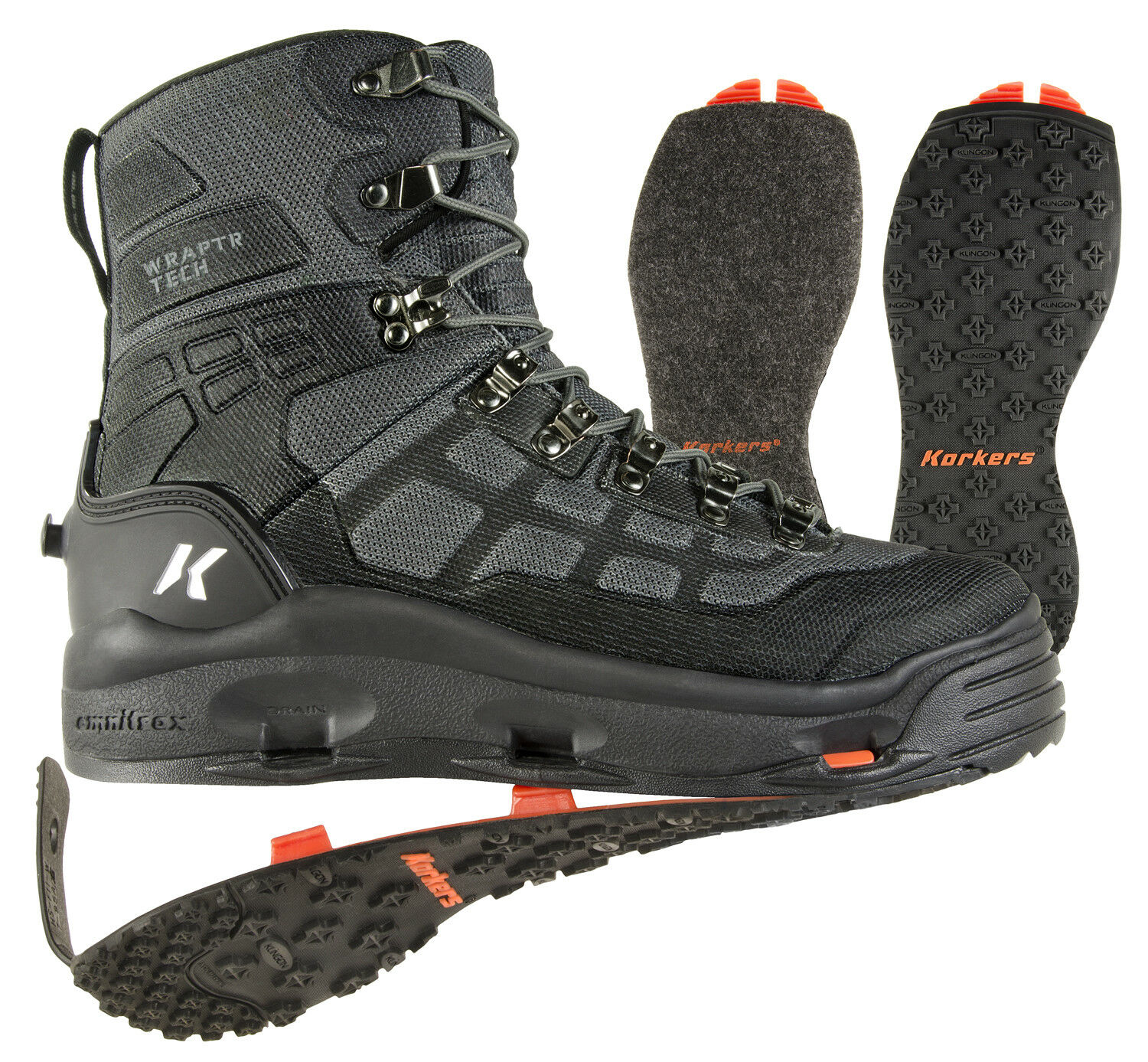 Korkers Wraptr Wading boots w Felt and Kling-On rubber soles - Size 8