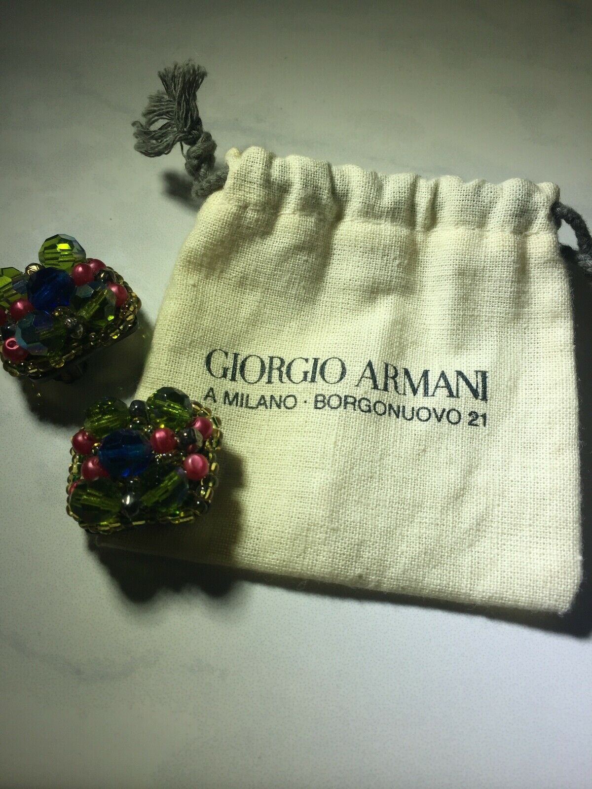 Giorgio Armani Costume Earrings Clip On 3942 SC P24