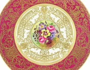 Royal-Worcester-Porcelain-Signed-034-W-LONG-034-Floral-Cabinet-Service-Plate