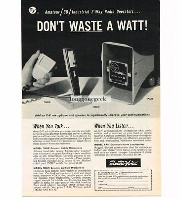 Advertising-print 1960-69 Faithful 1963 Electro Voice 714sr 729sr Microphone Pa15 Speaker Cb Ham Radio Vtg Print Ad To Have Both The Quality Of Tenacity And Hardness