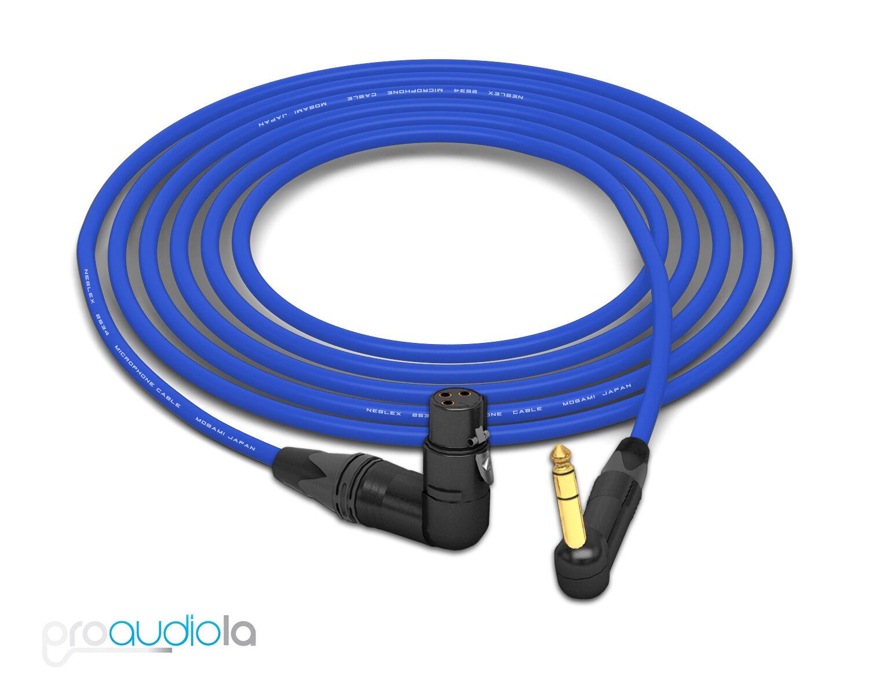 Mogami 2534 Quad Câble Neutrik Doré 90º Trs à 90º Xlr-F Blau 10.7m 10.7m