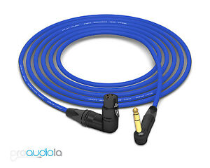 Mogami 2534 Quad Cable | Neutrik Gold 90º TRS to 90º XLR-F | Blue 35 Feet 35'