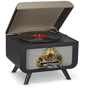 retro stereo turntable cd player bluetooth vinyl record player am fm radio audio 717959025649 ebay. Black Bedroom Furniture Sets. Home Design Ideas