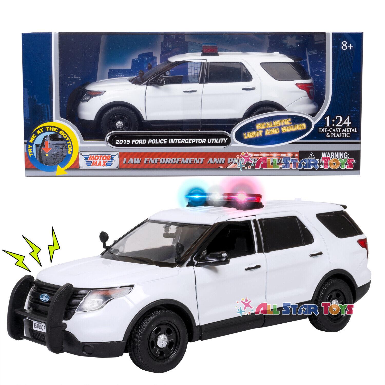 2015 Ford Explorer Police Interceptor SUV Diecast 1:43 Motormax 5 inch White