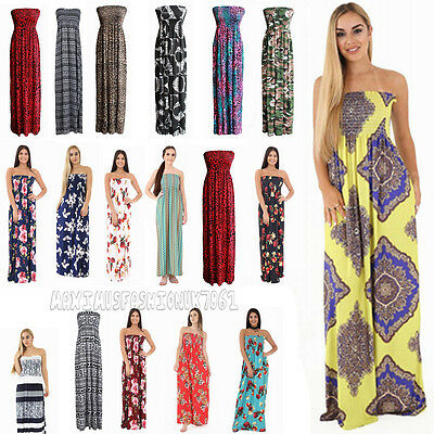 New Womens Plus Size Paisley Print Elasticated Summer Boob Tube Maxi Dress 8-22