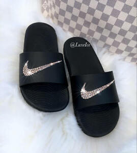 9cb3db3137a Image is loading Nike-KAWA-Slides-Black-Flip-Flops-customized-with-