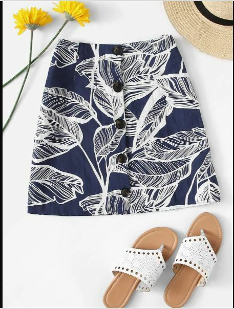 Tropical Leaf Print Blue Button Skirt size M or XL