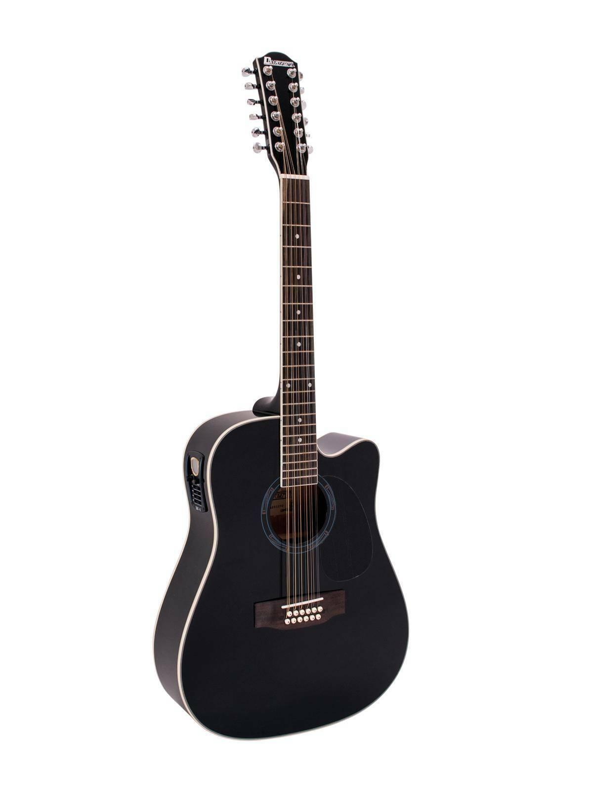 Western Gitarre TENVER, Zwölf Stahlsaiten, schwarz   Westerngitarre Dreadnought