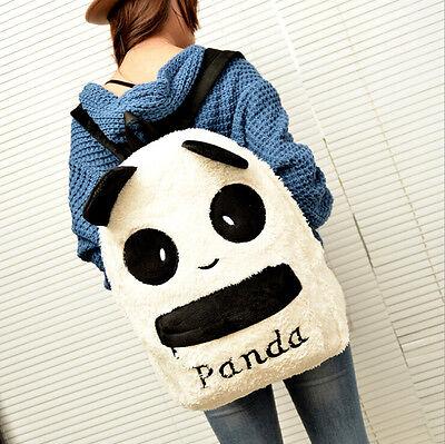 Fashion Women Cute Plush Panda Shoulder Backpack Preppy Style Girl School Bag