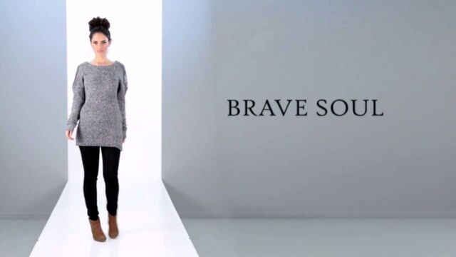 BNWT NEW LADIES BRAVE SOUL GREY EMBELLISHED KNITTED JUMPER SZ 20 CHUNKY SWEATER