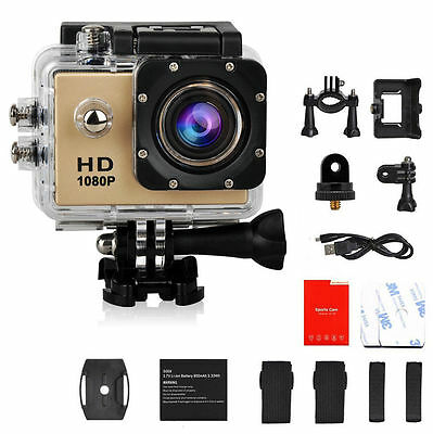 Gold 1080P   SJ4000 Waterproof HD Helmet Sport Action Video Camera Cam DV