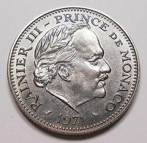 Monaco 1971 5 Francs GEM MS BU ** LOW Mintage STUNNING Prince Rainier III Coin