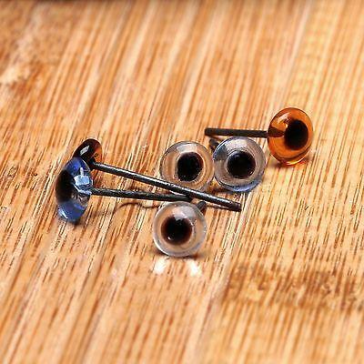 10 Paire 5 mm bleu//marron//transparent fixe Teddy Yeux en verre aiguille feutrage à coudre