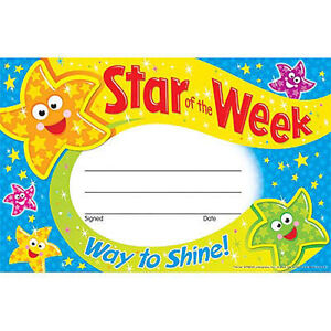 30 kids star of the week reward recognition certificate for Star of the week poster template