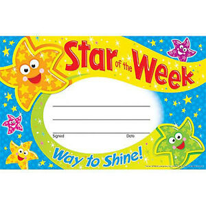 30 kids star of the week reward recognition certificate awards