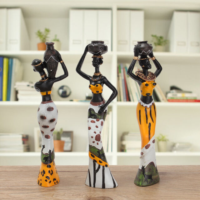 3 Pcs Set Vintage Resin African Lady Sculpture Figurine Art Ornament Home Decor