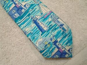 vineyard-vines-Lighthouse-Scenic-Pattern-100-Silk-Tie-NWT-85-Made-in-USA