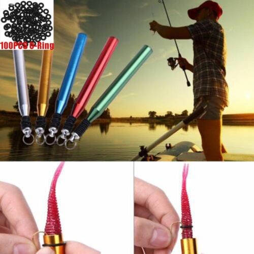 """Pro SF Wacky Rig O-RingTool with 100 pcs O-rings Senkos Worms for4/""""/&5/"""" Lure Bait"""