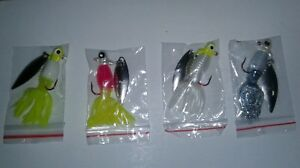 Crappie jigs heads with spinner 1//16oz assorted colors with blades #4 hooks