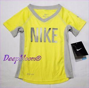 db97b5b192c7 Details about NIKE TOP TEE SHIRT GIRLS LOGO FRONT DRI FIT SZ 2T 3T 4T  YELLOW GREEN PINK NEW