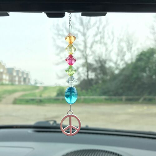 New Hanging Car Charm ~ Sun Catcher Peace Symbol Mobile ~ Hippie Chic, Gift Idea