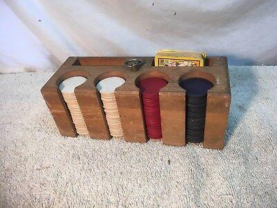 Vintage 1950s 60s Poker Chips In Wood Card Holder Caddy