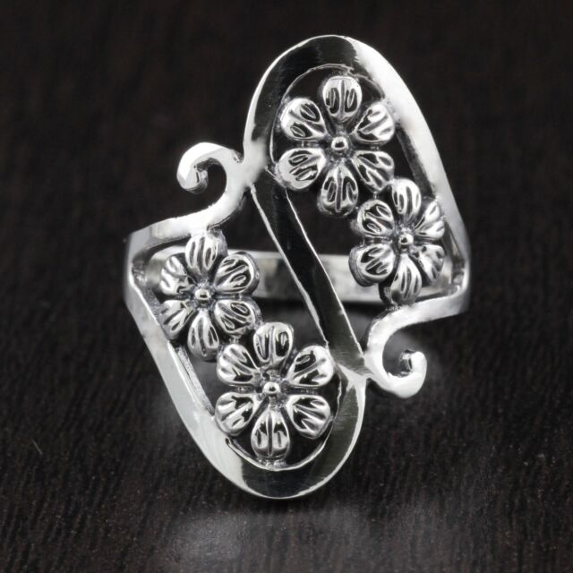 Womens 925 Sterling Silver Vintage Style Flower Design Ring 25mm