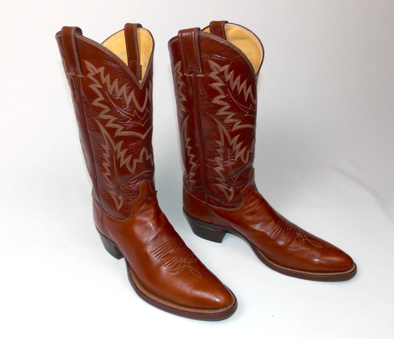 Justin marrón botas vaqueras-Para Hombre B Puntera rojoondeada Excelente Estado De Colección