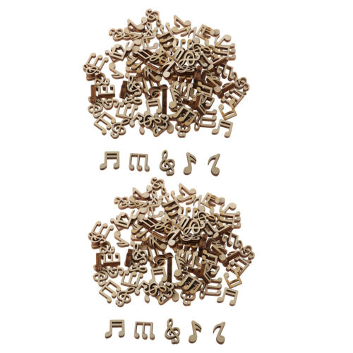 200x Note Shaped Unfinished Wood Chips Wooden Pieces Scrapbook Embellishment