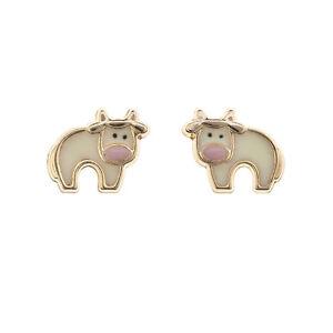 9ct gold enamel pink butterfly stud earrings. Gift box rZk5dhp