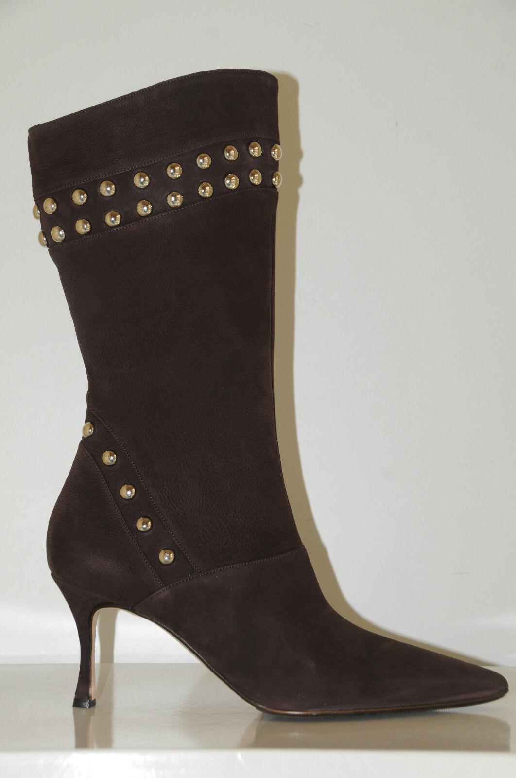 2175 New MANOLO BLAHNIK NENBIEMI PLUM marrón NUBUCK botas STUDS zapatos 41 10.5